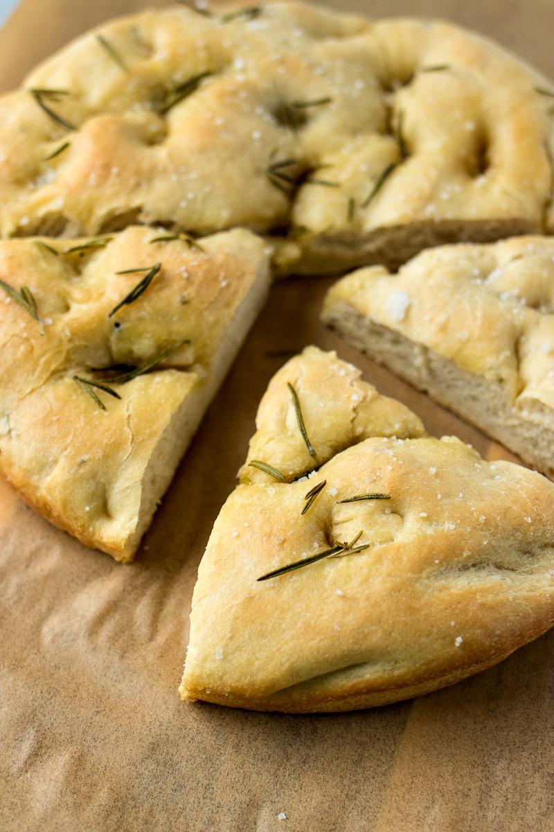 Rosemary & Olive Oil Focaccia Bread cut into slices