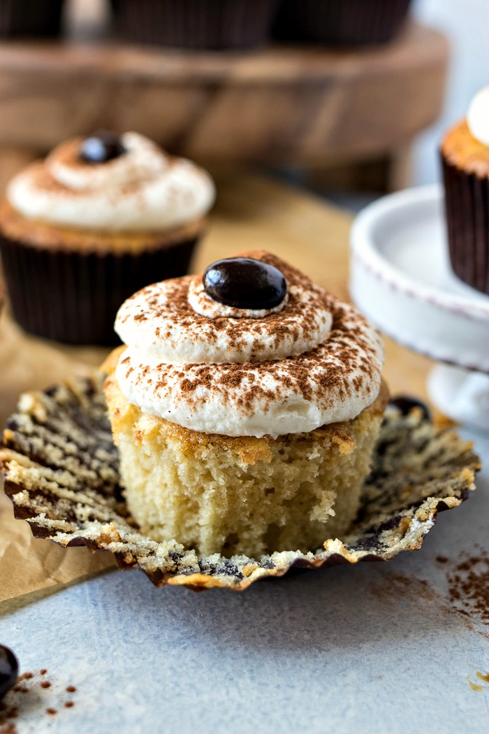 Tiramisu Cupcakes with the paper peeled off