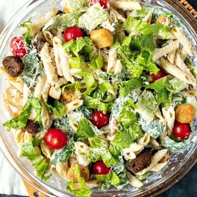 Caesar Pasta Salad - Penne pasta is tossed with your favorite Caesar salad ingredients to make for an incredible side dish for any occasion