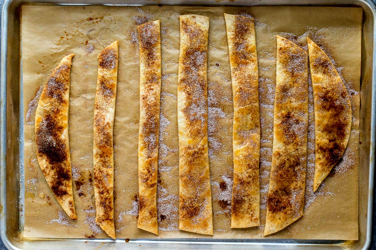 Cookie sheet of pie crust cut into strips