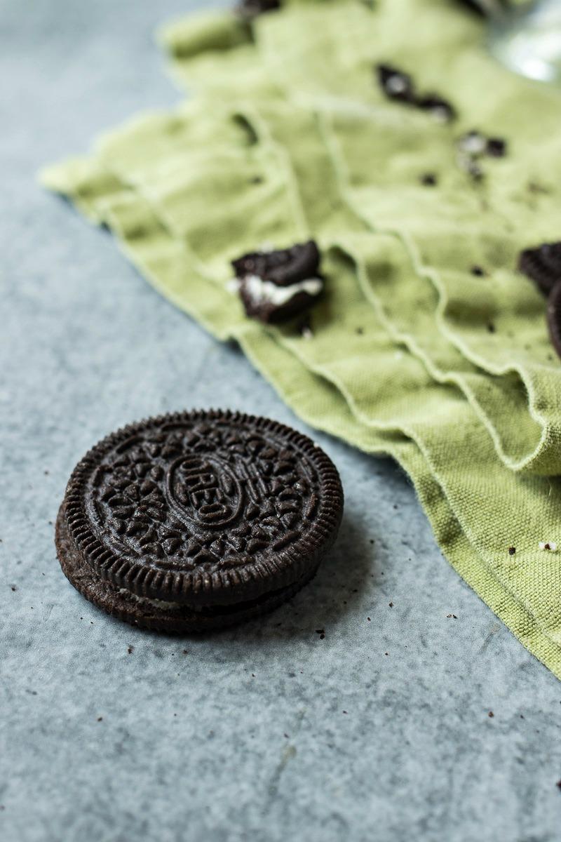 Closeup on a mint oreo cookie
