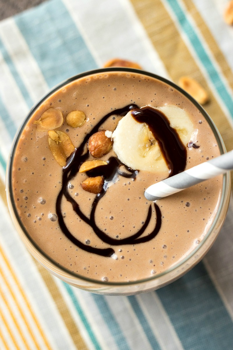 Top view of Chocolate Peanut Butter Banana Smoothie