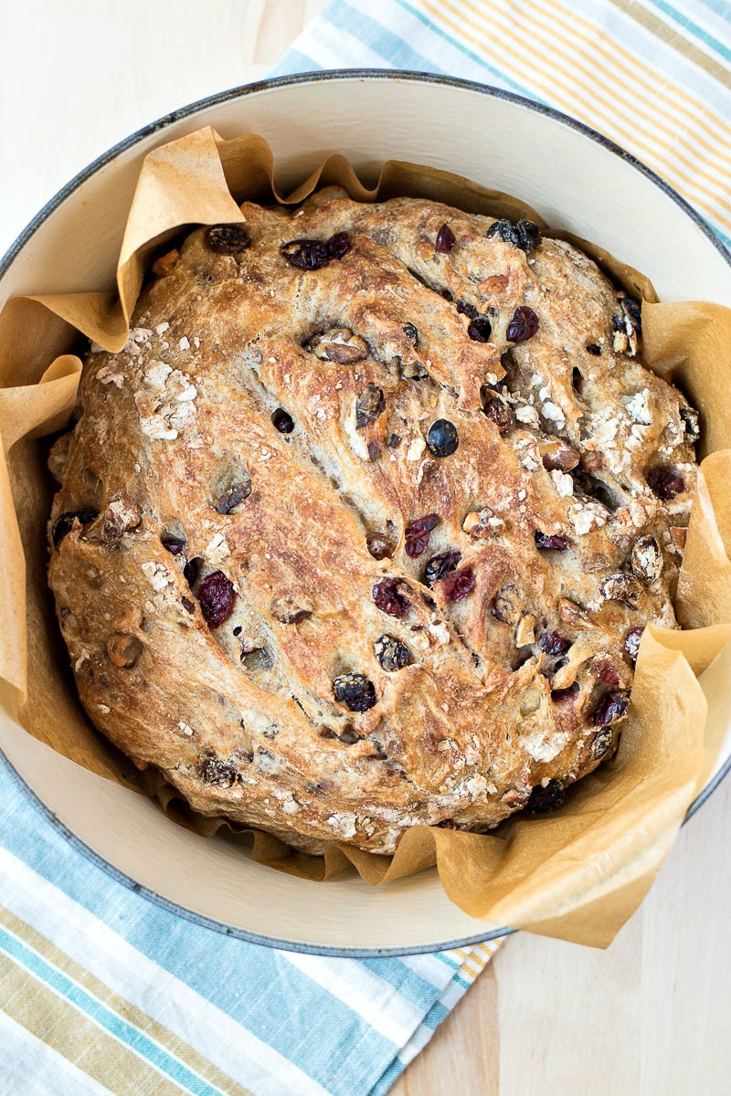 No-Knead Harvest Wheat Bread - This chewy, rustic bread is speckled with golden raisins, dried cranberries, and walnuts and is super easy to make with this no-knead recipe.