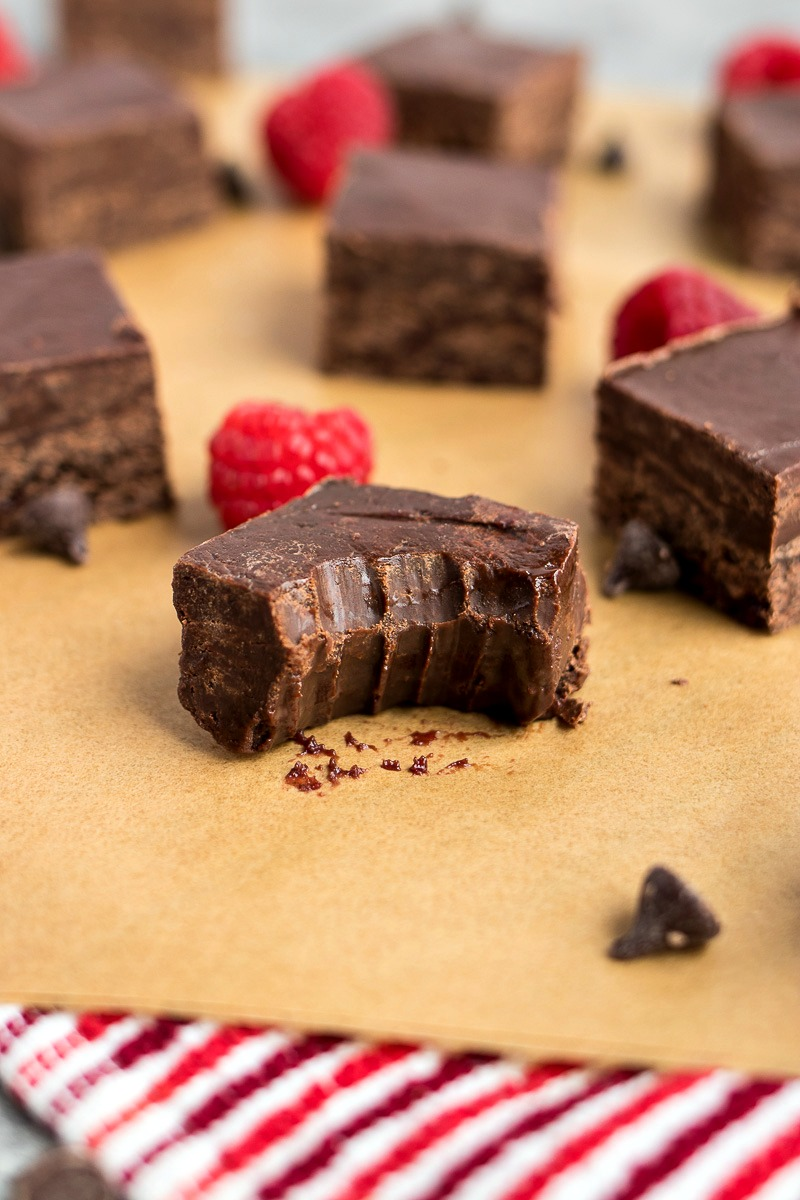 Dark Chocolate Raspberry Fudge - Easy, creamy dark chocolate fudge swirled with raspberry puree.
