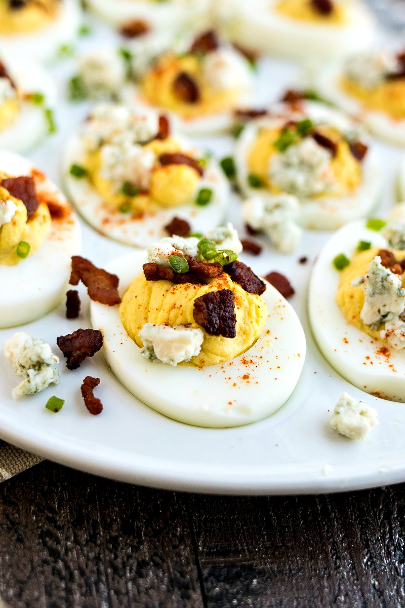 Closeup of a Bacon & Blue Cheese Deviled Egg