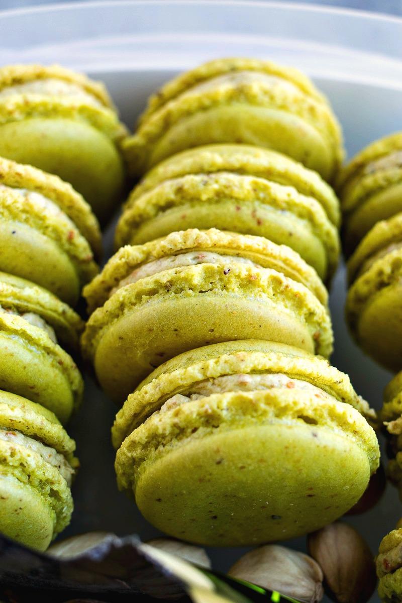 Rows of Pistachio Macarons