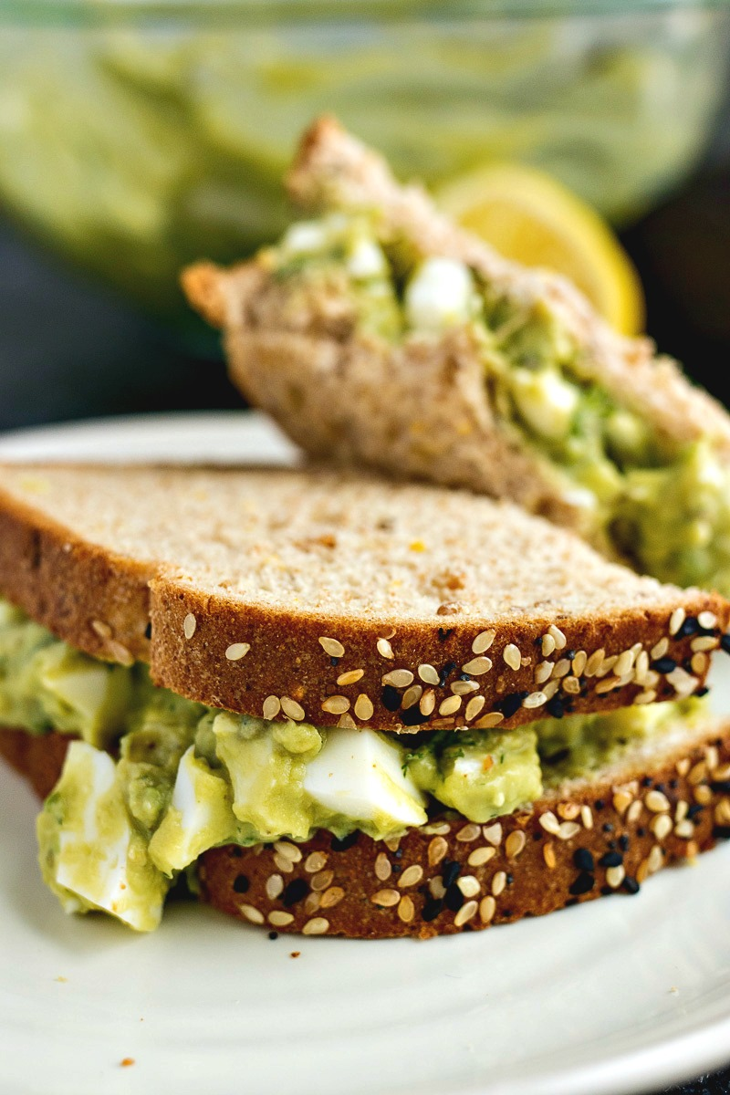 Avocado Egg Salad Sandwich on wheat bread