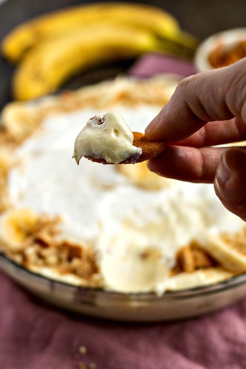 Banana Cream Pie Dip on a wafer