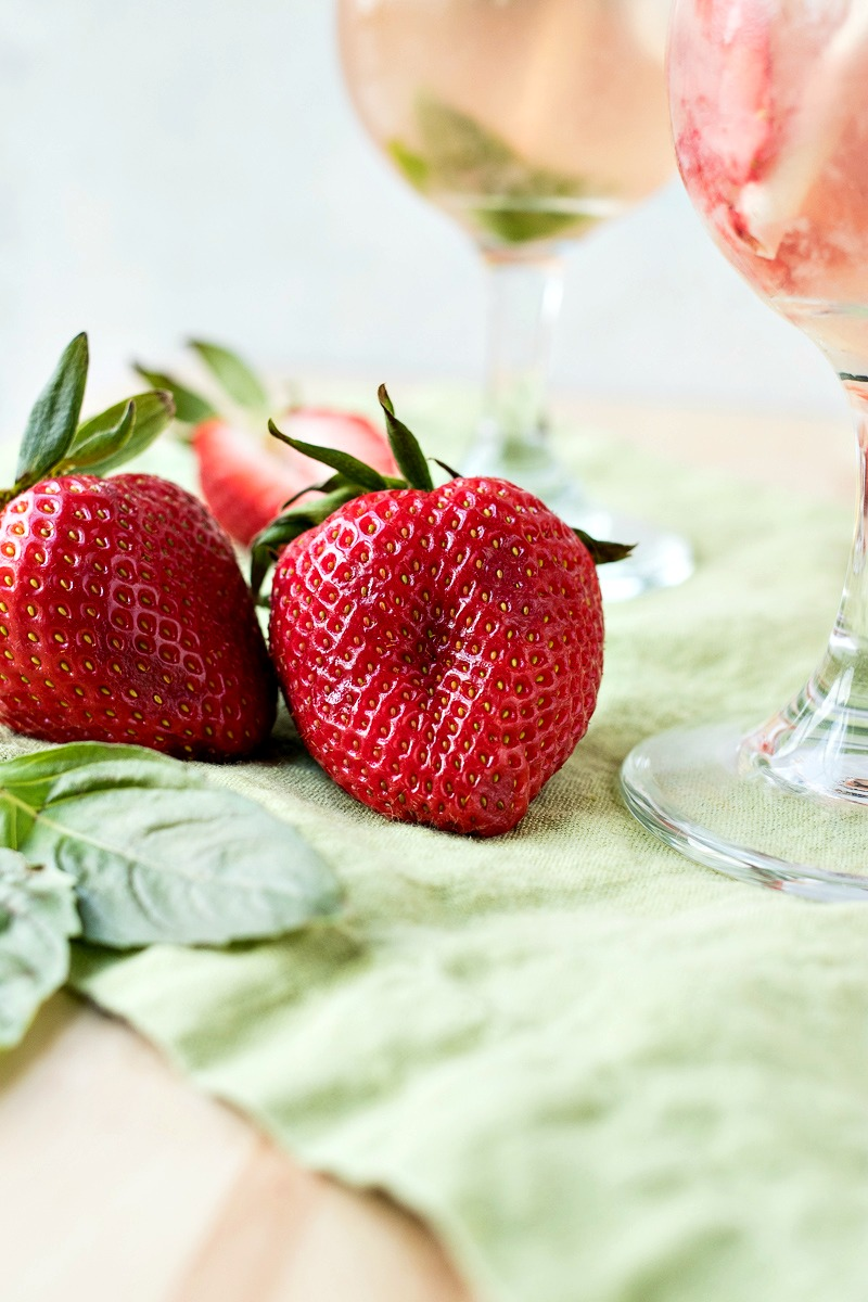 Closeup of two strawberries