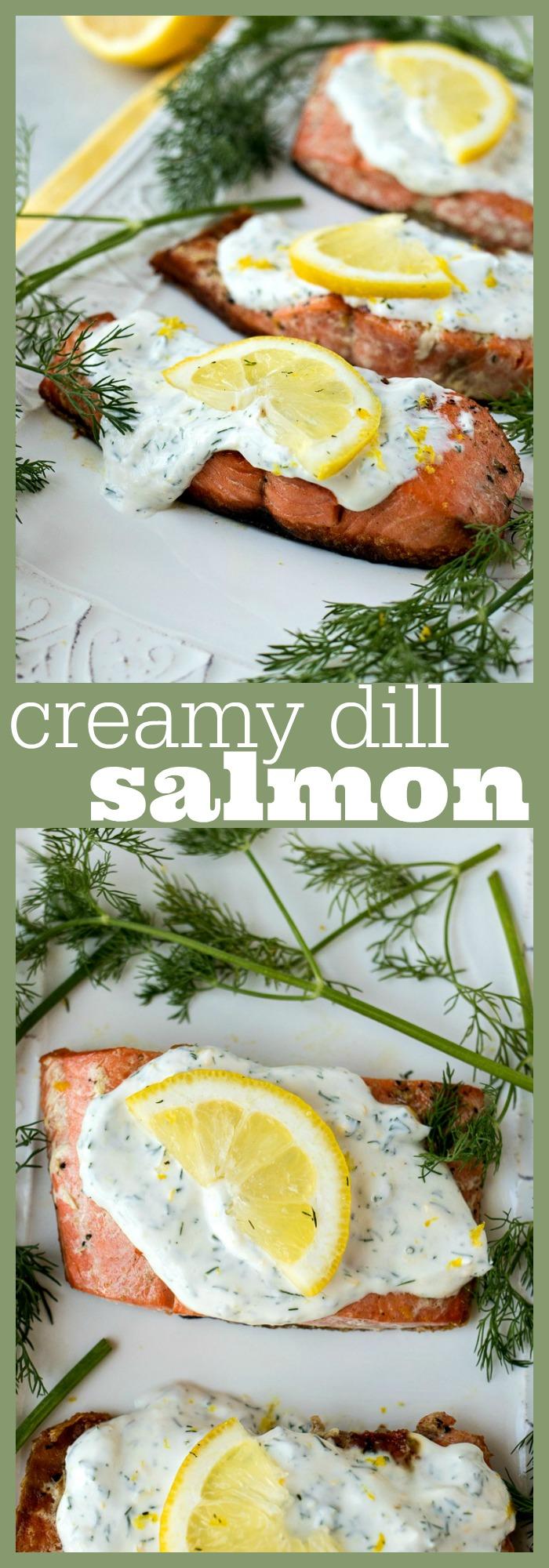 Creamy Dill Salmon photo collage