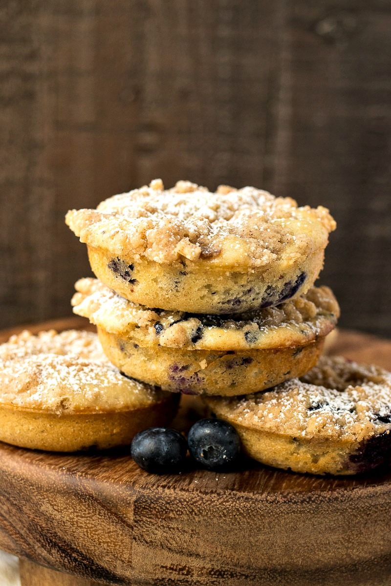 Stack of Blueberry Crumb Doughnuts