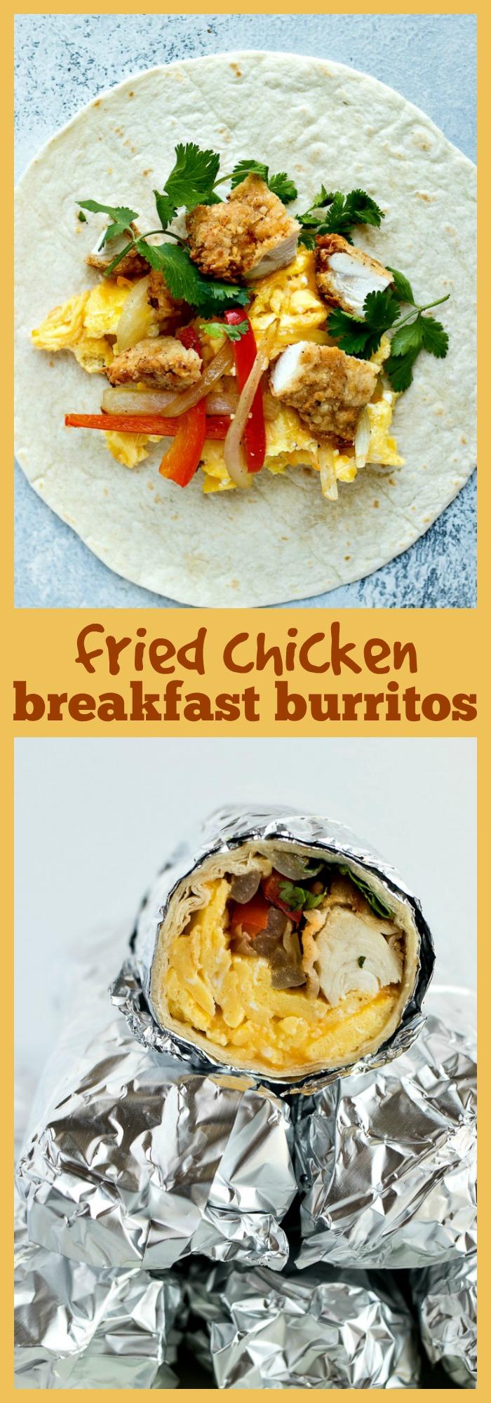 Fried Chicken Breakfast Burritos photo collage