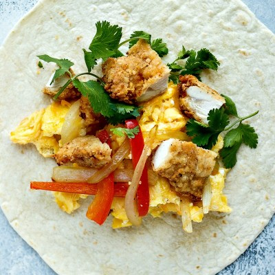 Fried Chicken Breakfast Burritos