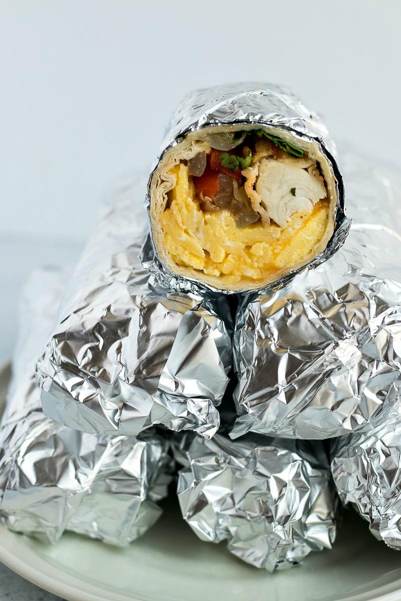 Fried Chicken Breakfast Burritos wrapped in foil