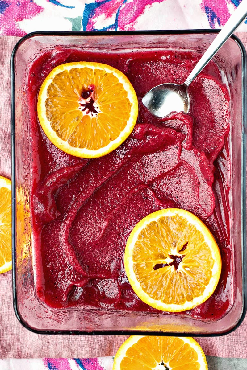 Pan of Sangria Sorbet with orange slices on top