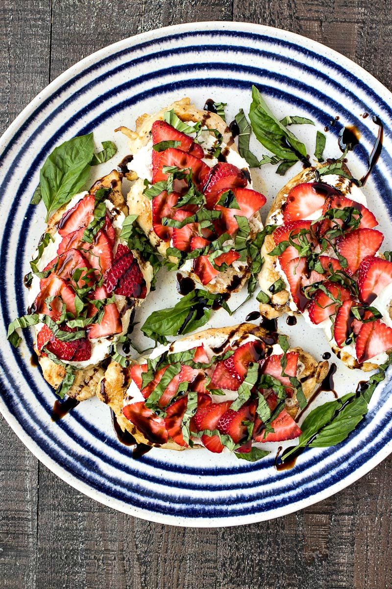Plate of Strawberry & Goat Cheese Chicken drizzled with sauce