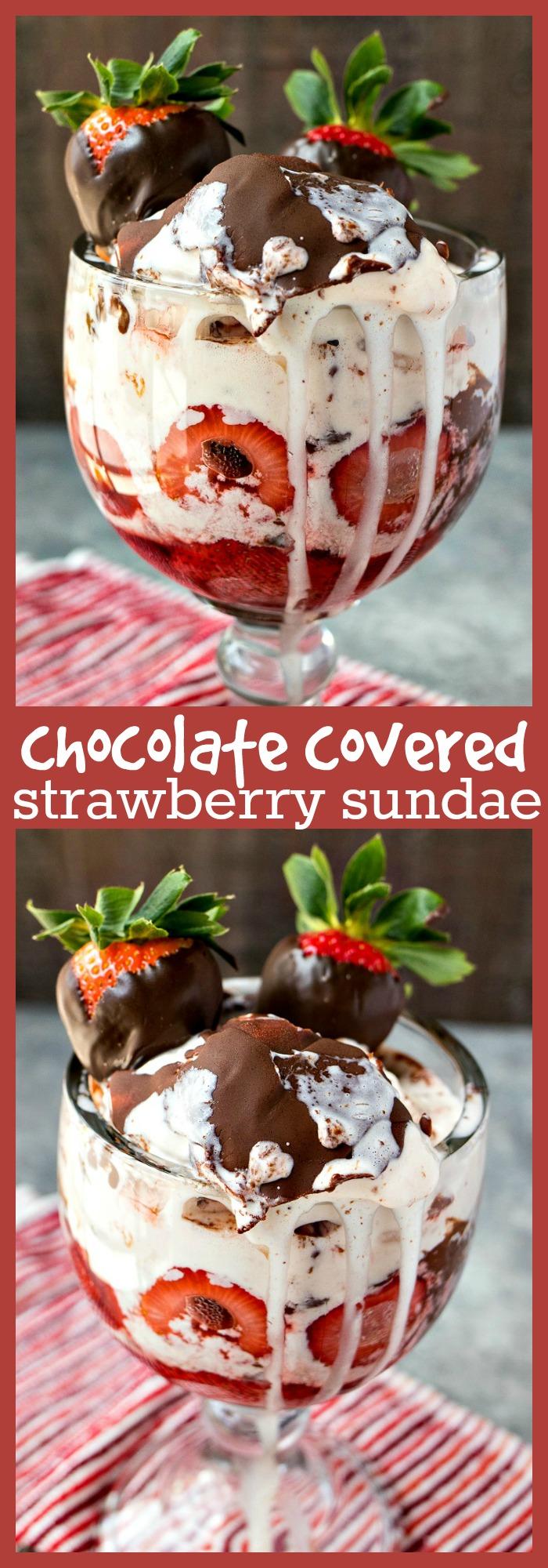 Chocolate Covered Strawberry Sundae photo collage