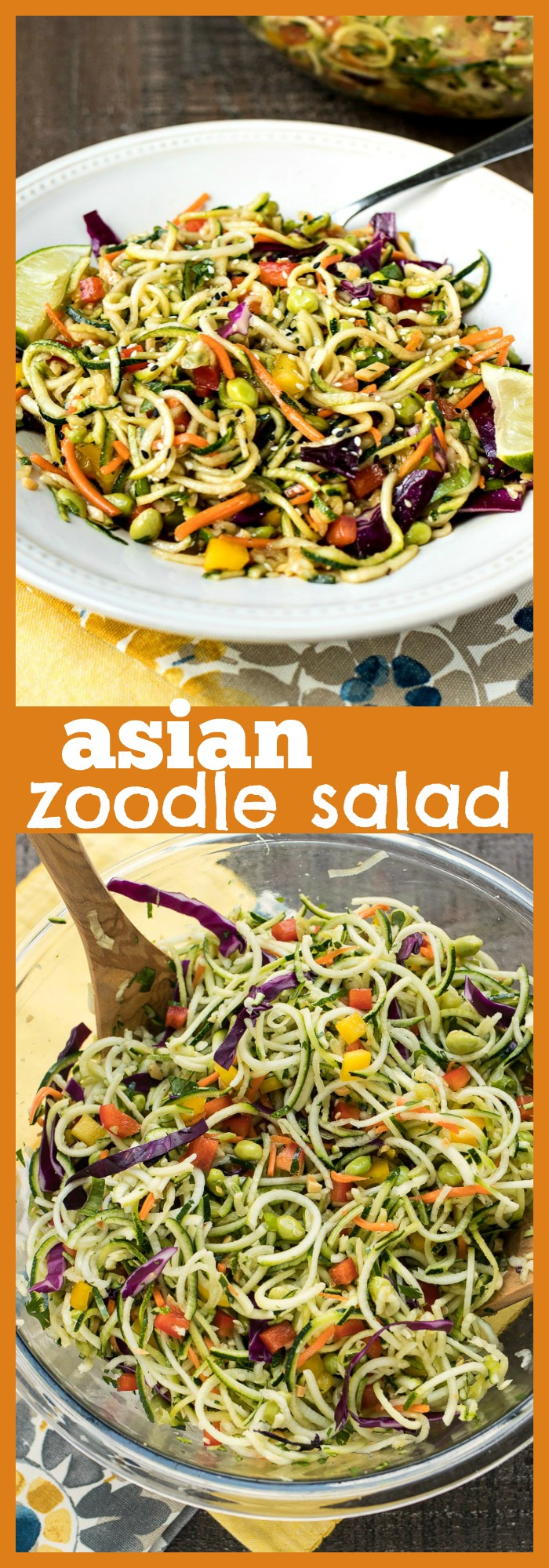 Asian Zoodle Salad photo collage