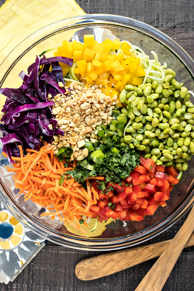 Bowl of Asian Zoodle Salad ingredients before being mixed together
