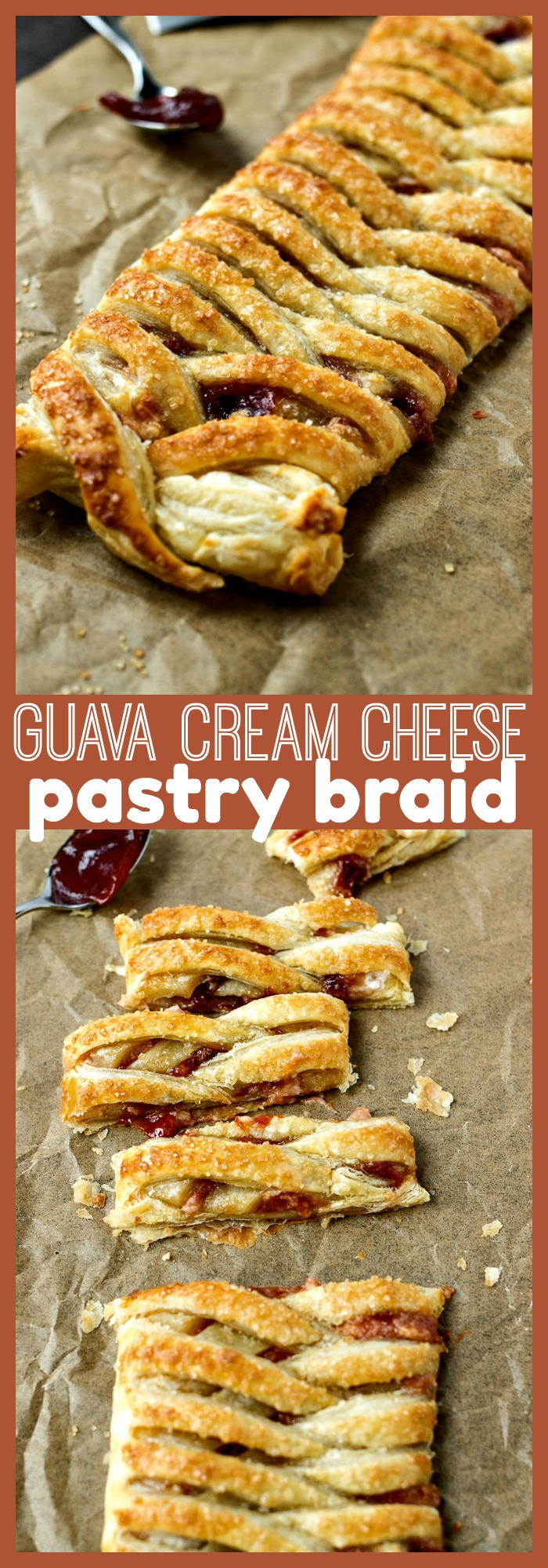 Guava Cream Cheese Pastry Braid photo collage