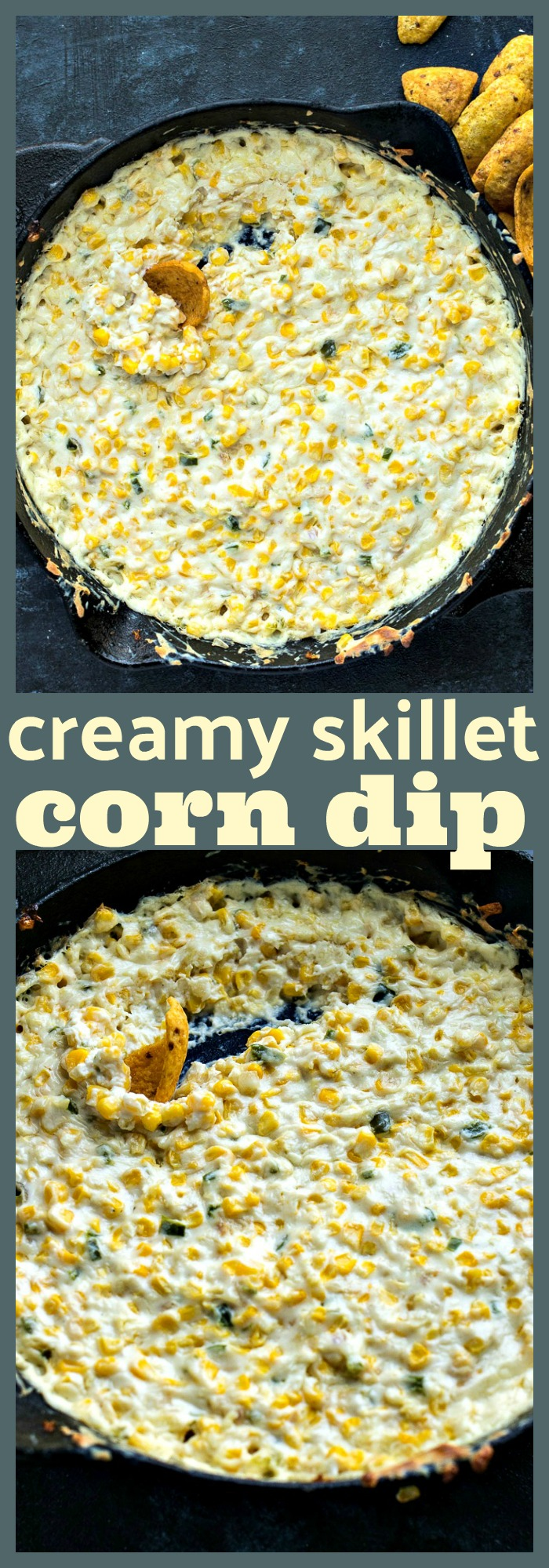 Creamy Skillet Corn Dip photo collage