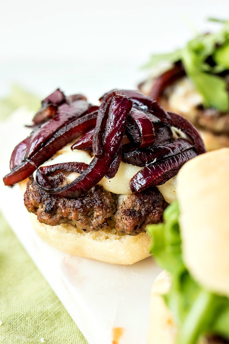 Italian Cheeseburger Slider topped with caramelized onions