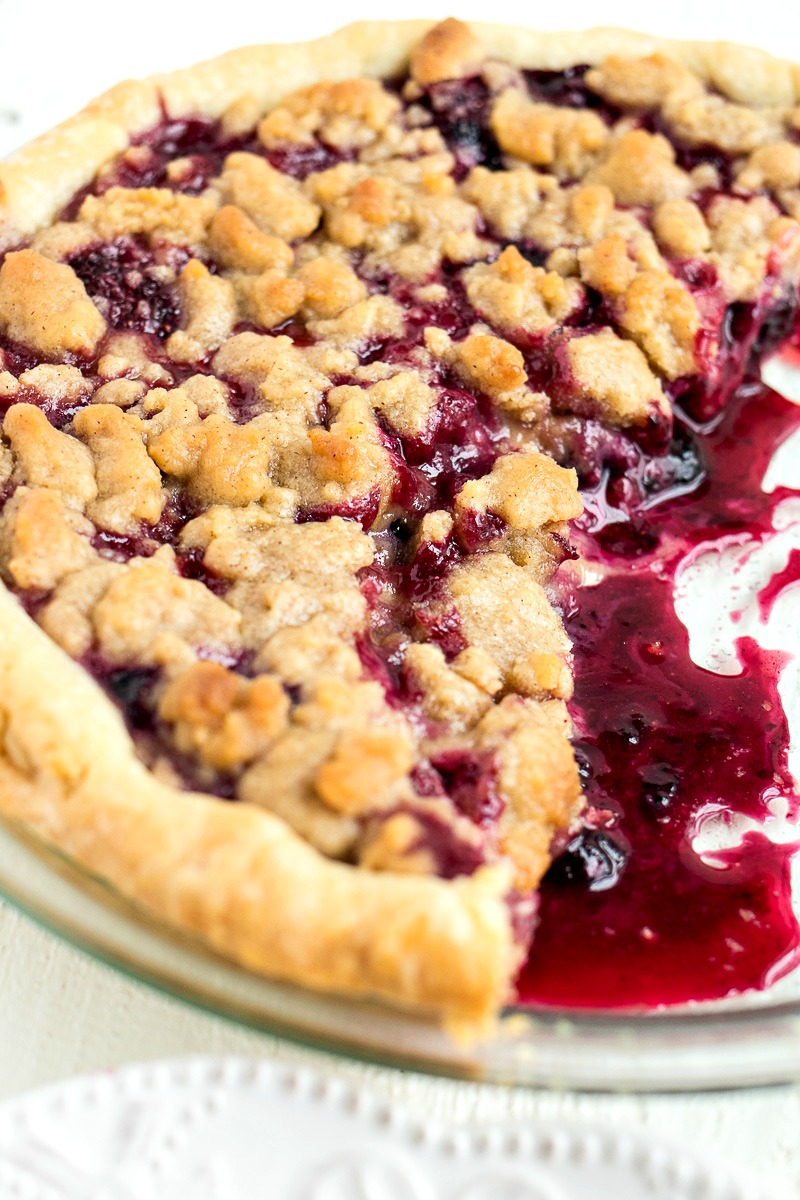Closeup on the crumble on top of the Berry Crumble Pie