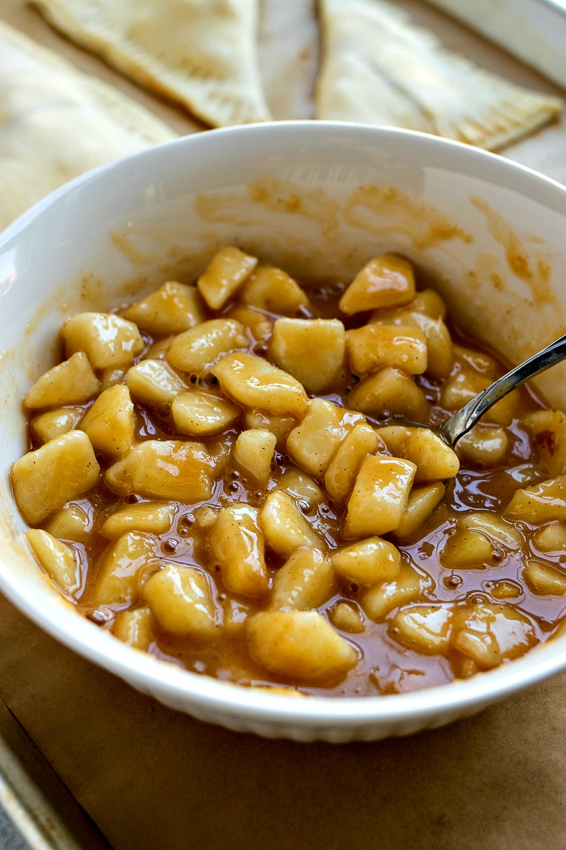 Bowl of diced pears and butterscotch sauce