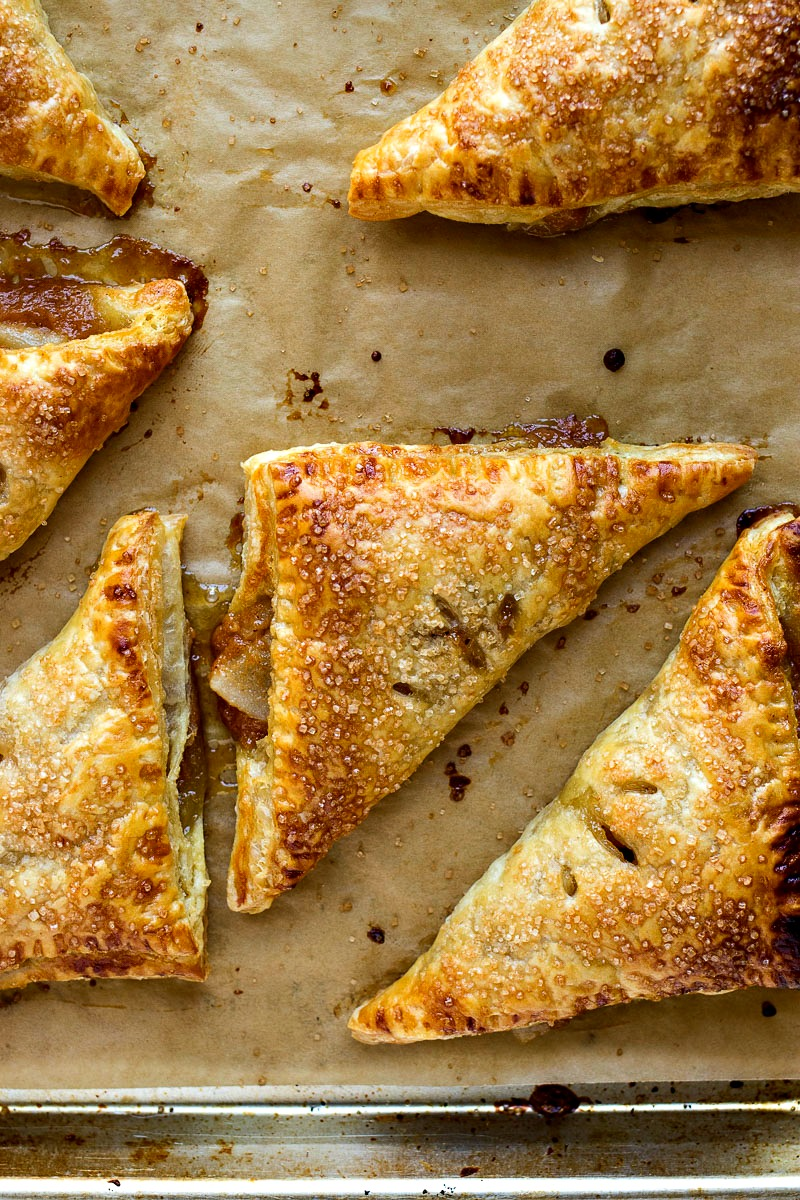 Butterscotch Pear Turnovers on a cookie sheet