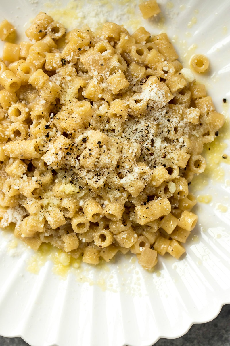 Top view of a plate of Cacio e Pepe Pasta Risotto