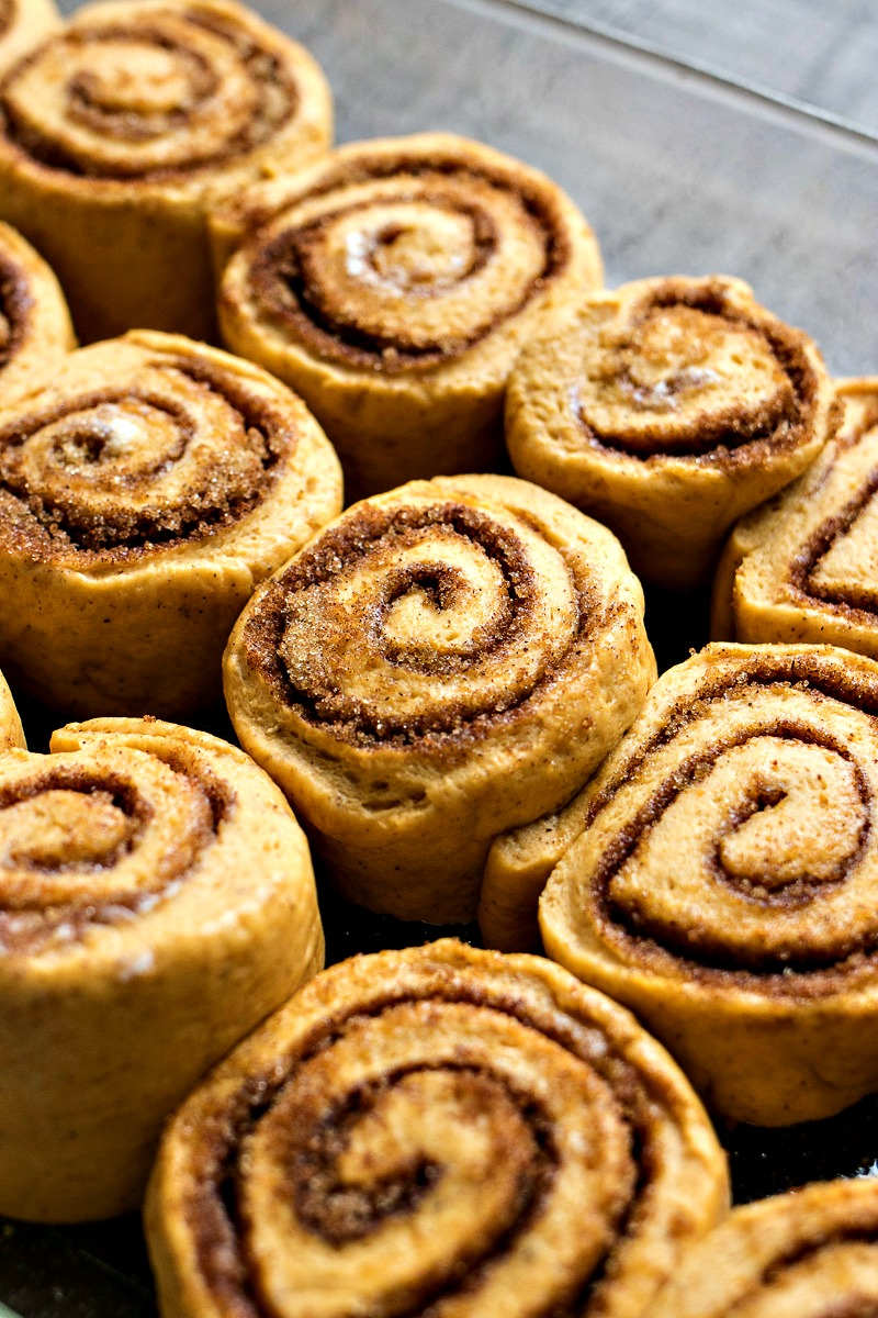 Closeup of Pumpkin Cinnamon Roll dough