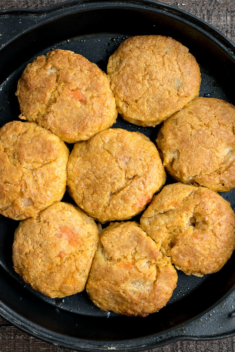Skillet of Sweet Potato Biscuits