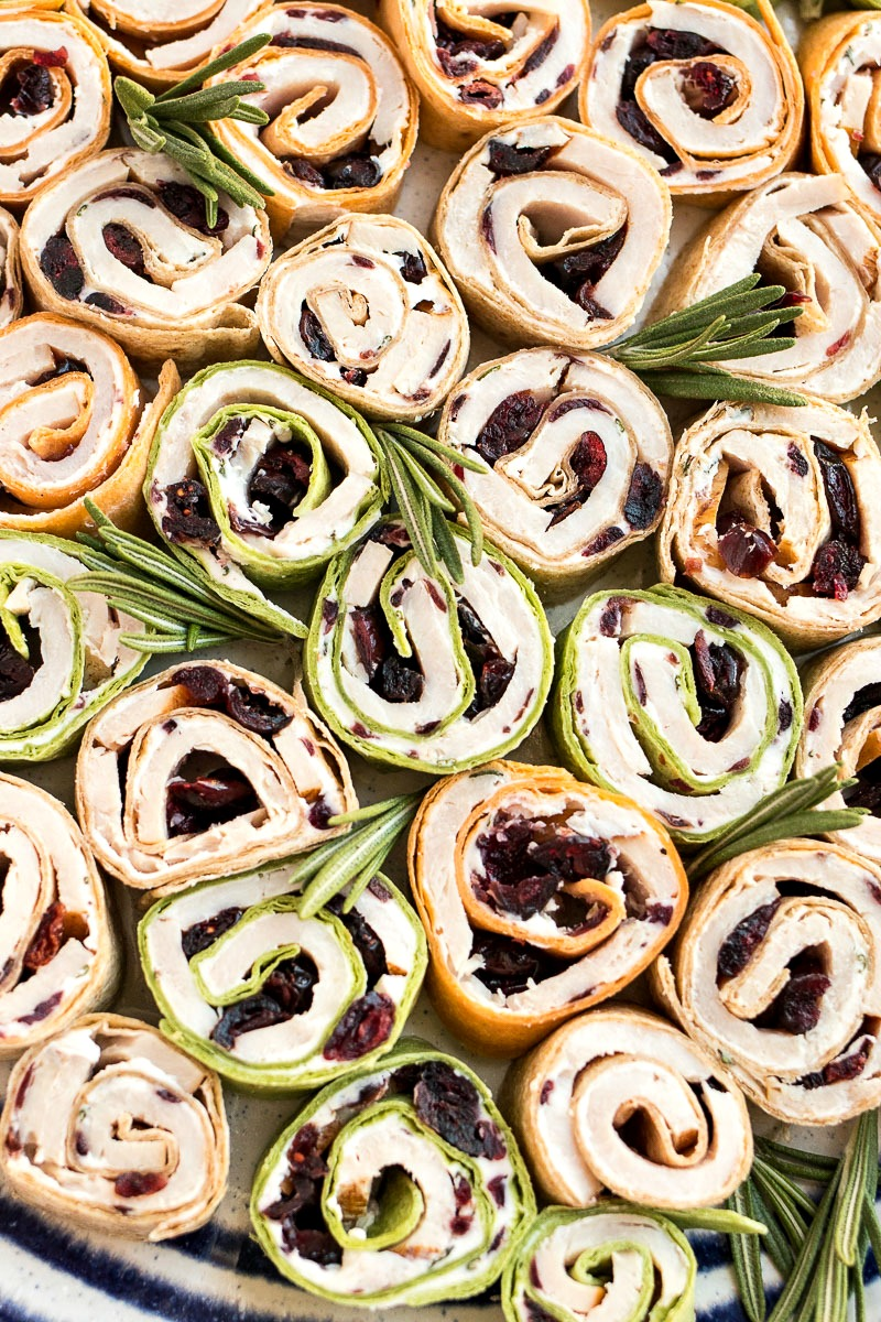 Closeup on Turkey Cranberry Pinwheels