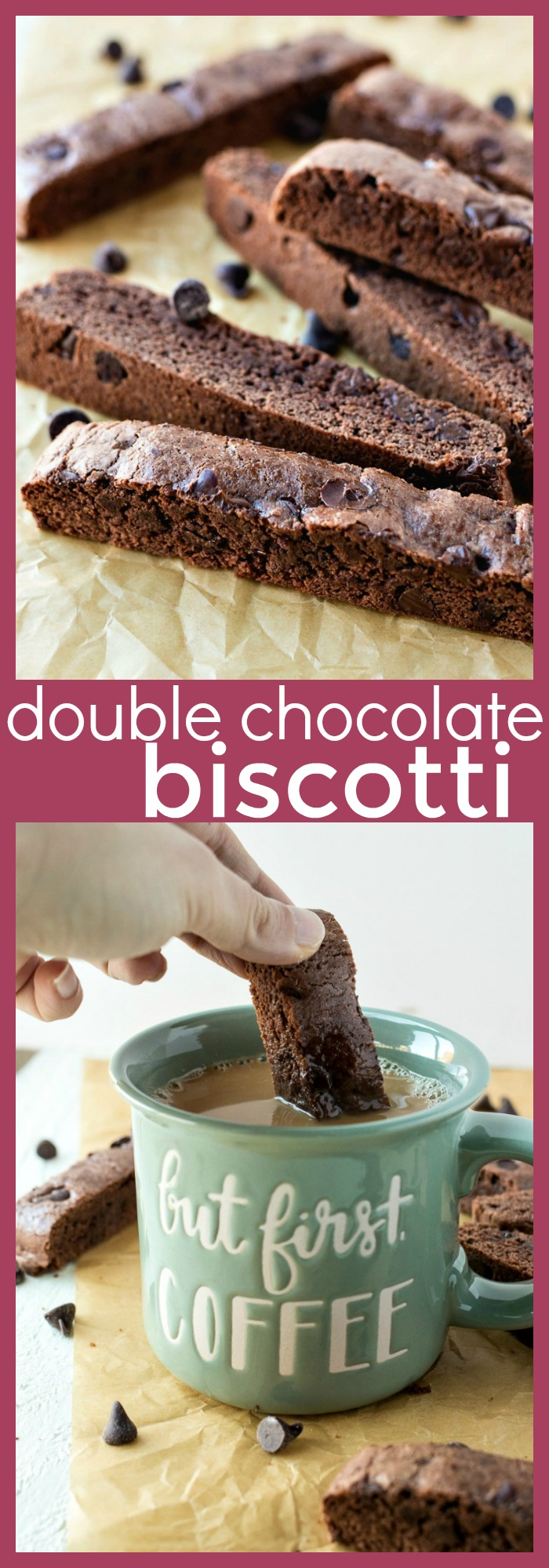 collage image of double chocolate biscotti with descriptive text