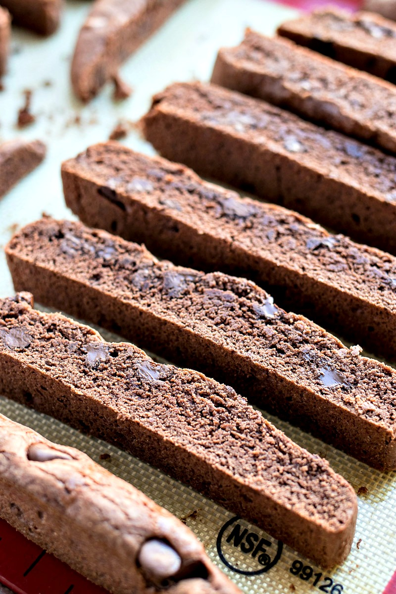 Tray of Double Chocolate Biscotti on their side