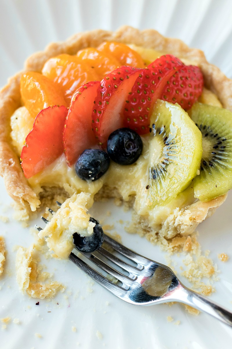 Closeup of a Classic Fruit Tart after being cut with a fork