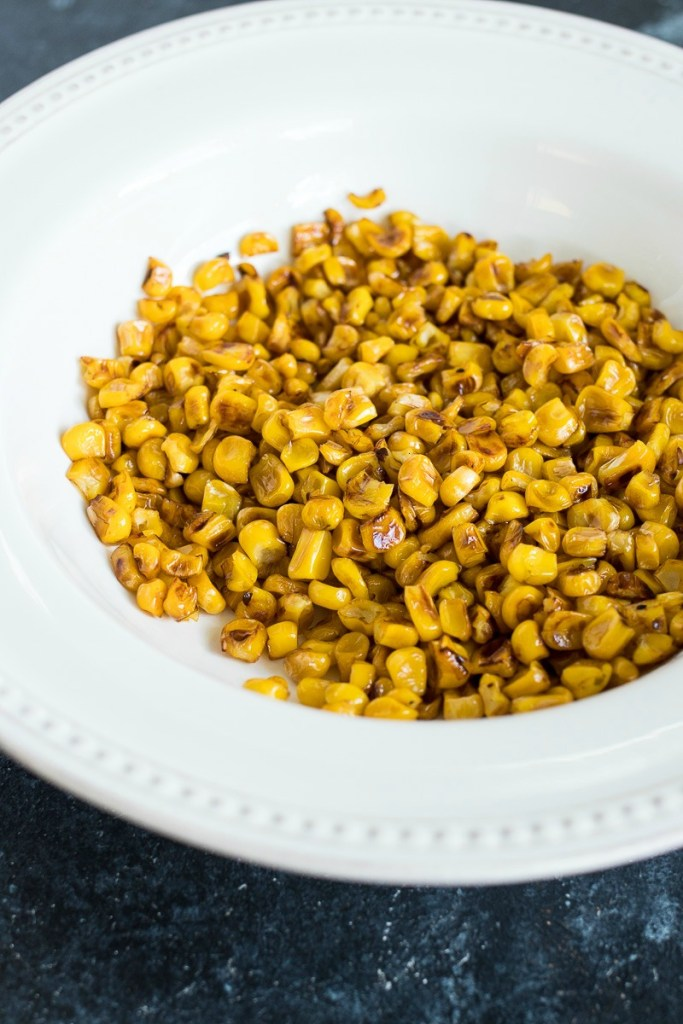 Plate of cooked corn kernels