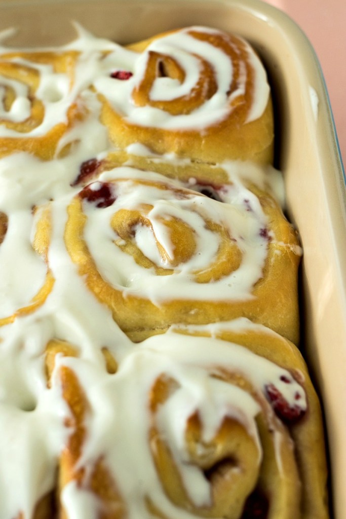 Pan of Raspberry Sweet Rolls after being iced