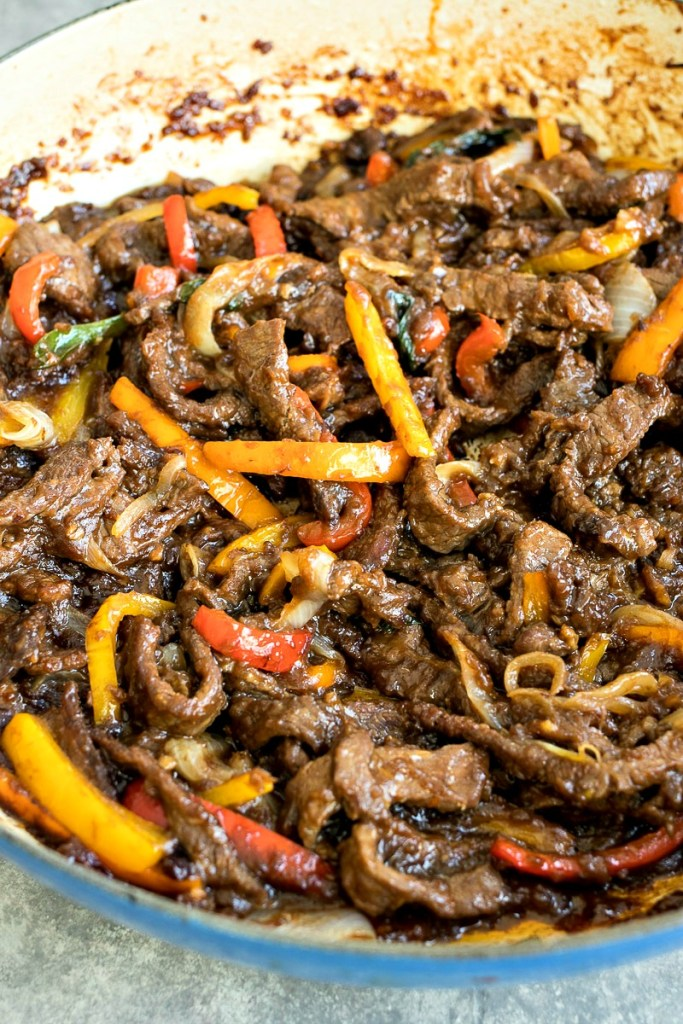 Closeup view of a plate of Mongolian Beef