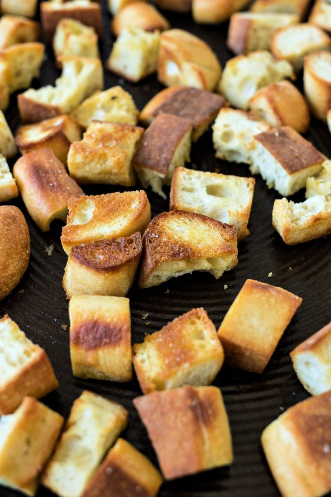 Toasted bread chunks in  a pan