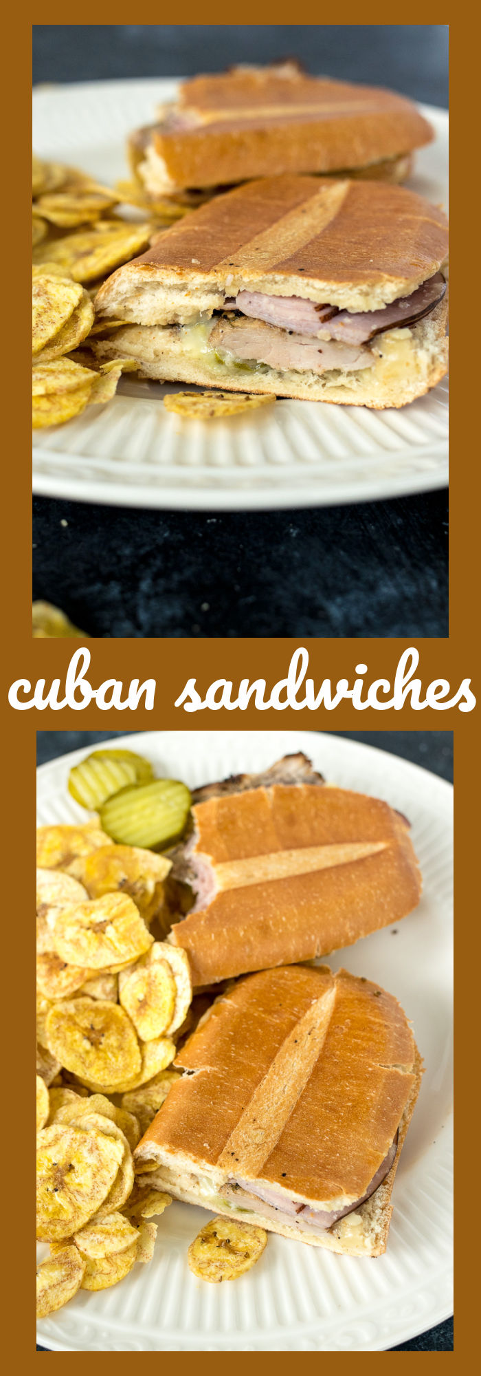 collage of two photos of a Cuban sandwich with descriptive text