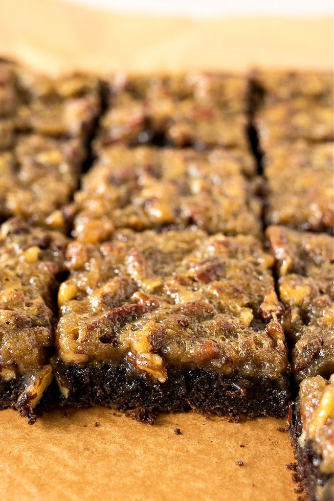 direct photo of sliced pecan pie brownies