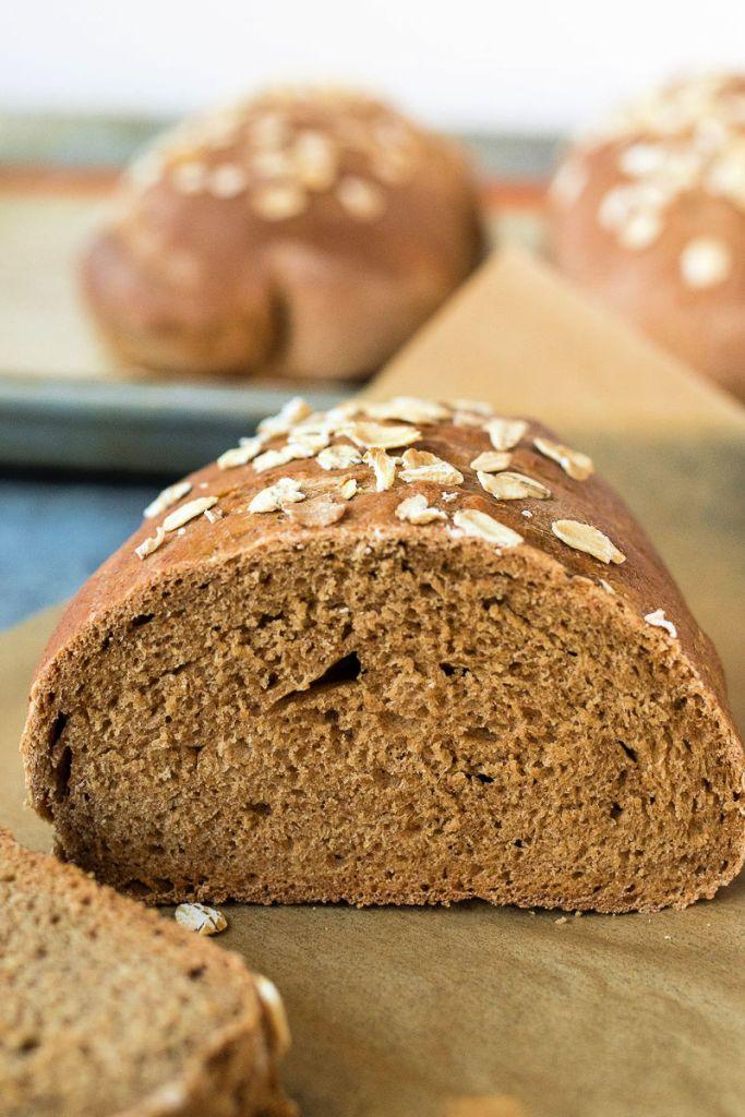 Honey wheat bread loaf cut in half