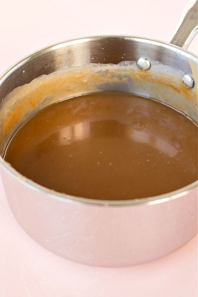 photo of completed toffee sauce in a sauce pot