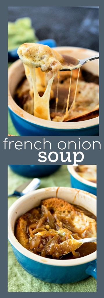 collage of french onion soup photos with descriptive text