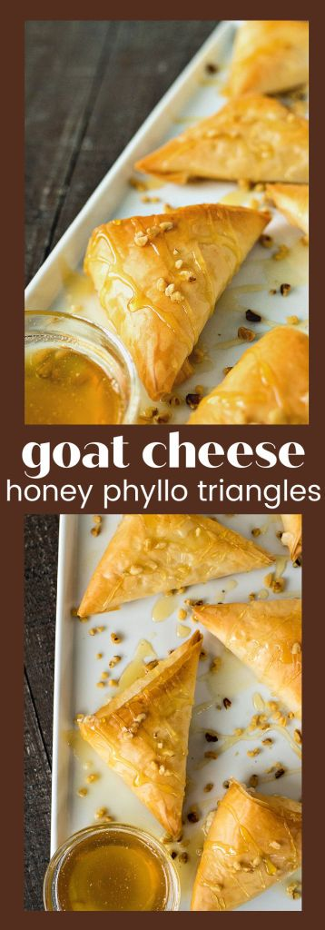 collage of goat cheese honey phyllo triangles with descriptive text