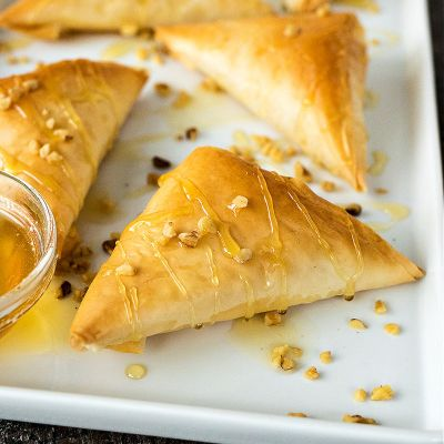 Goat Cheese & Honey Phyllo Triangles