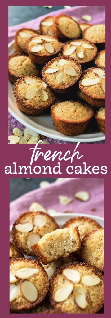 collage of french almond cake photos with descriptive text