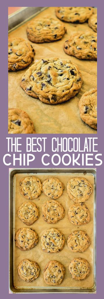 a collage of chocolate chip cookie photos with descriptive text