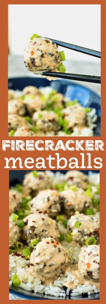 collage of firecracker meatball photos with descriptive text